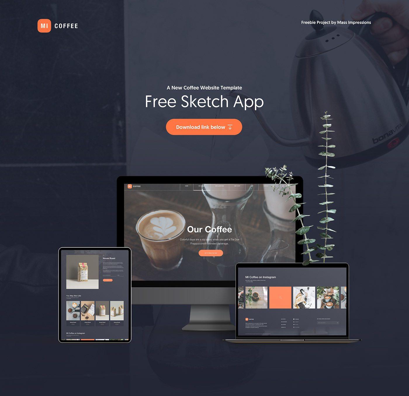MI Cafe - Free Sketch App Template