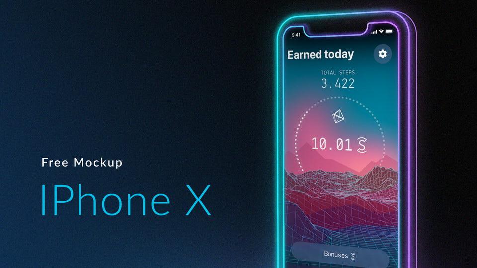 Neon iPhone X Mockup