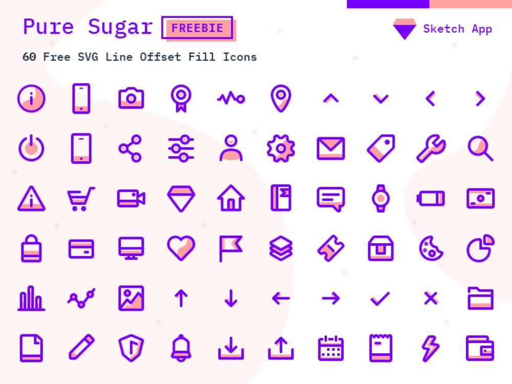 Pure Sugar Free set of 60 SVG icons иконки скачать бесплатно