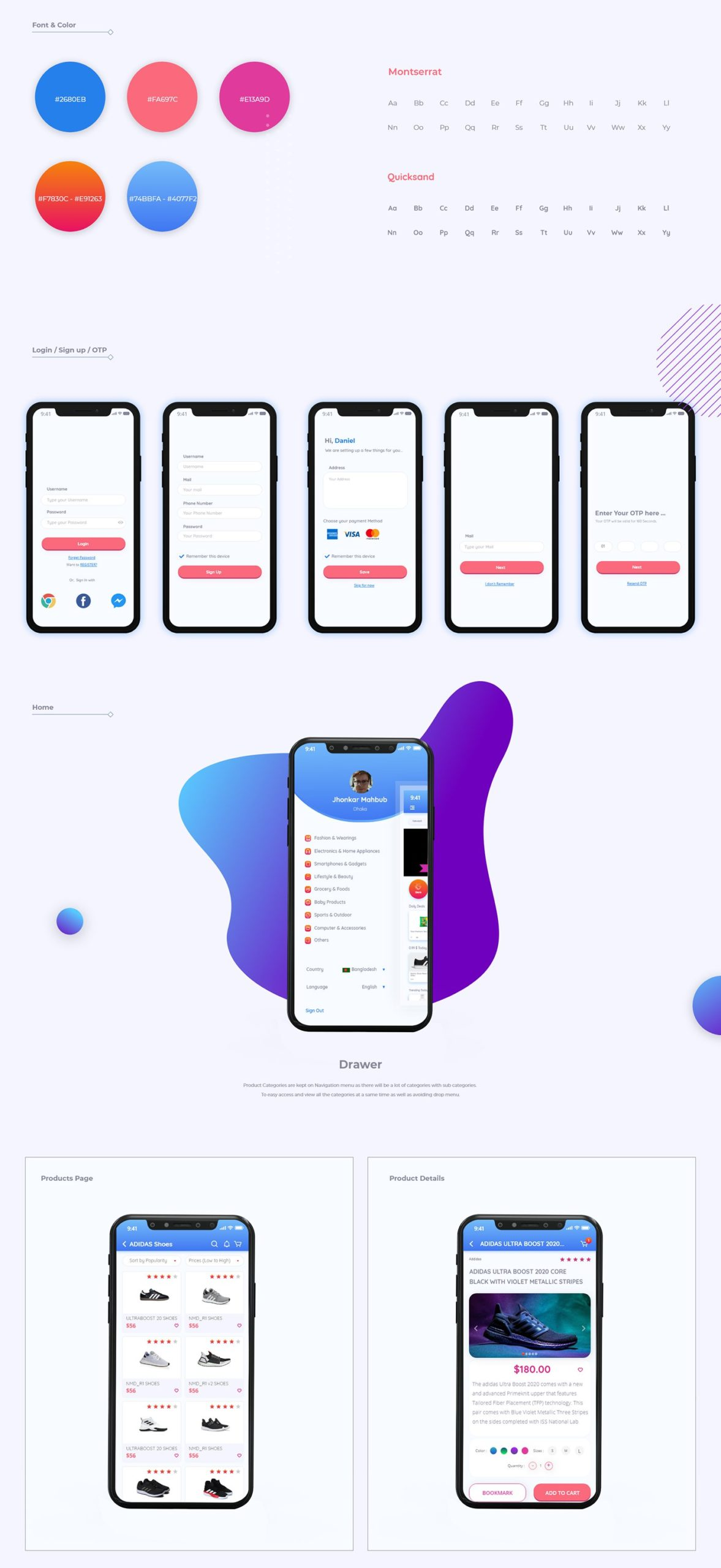 Qeekie Free Ecommerce App Ui Kit Adobe XD