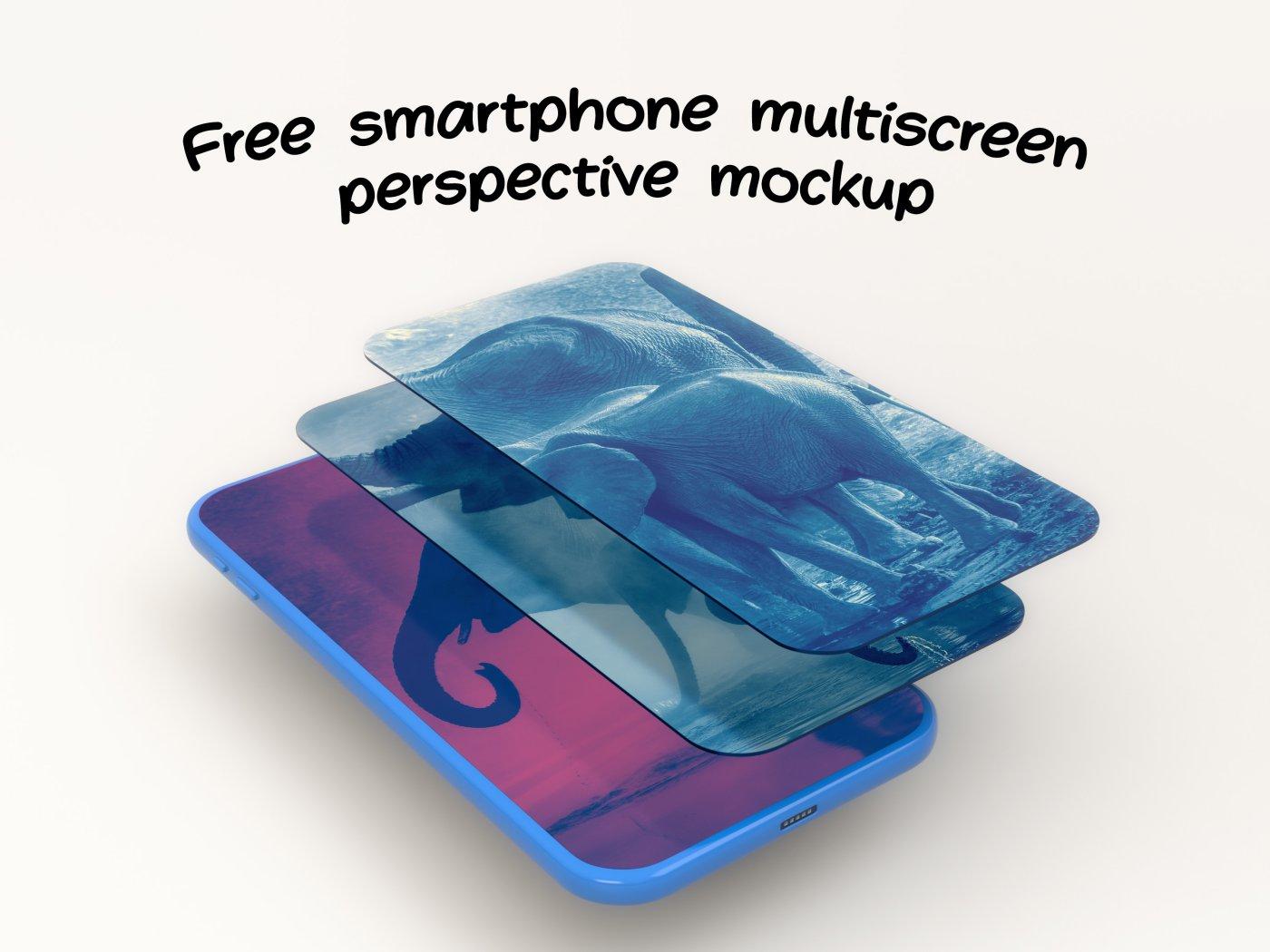 Free Smartphone Multiscreen Perspective Mockup