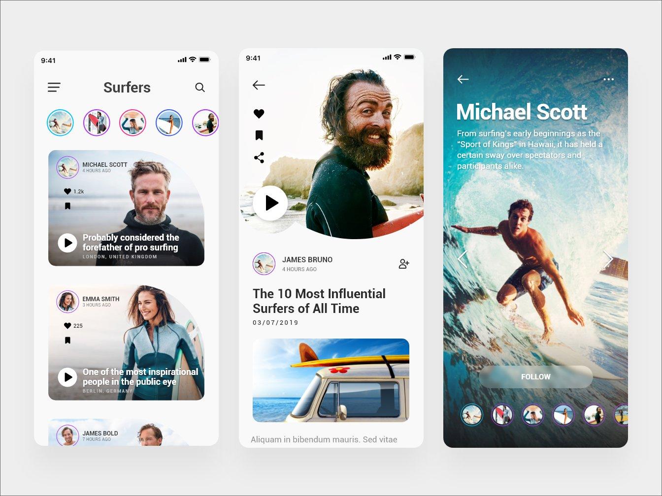 Free Surfing App Concept - Adobe XD скачать бесплатно