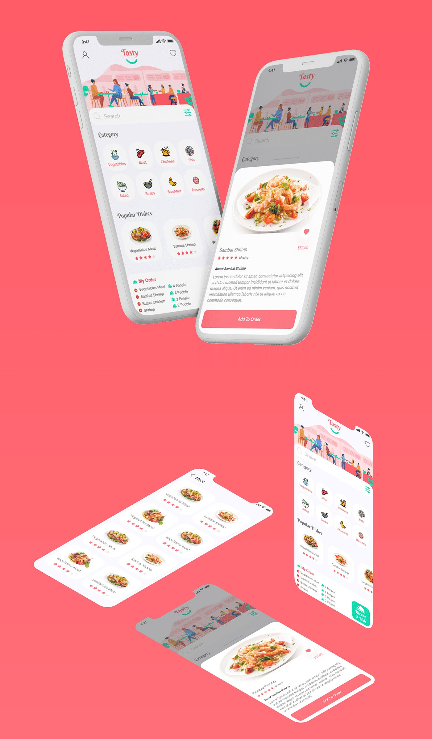 Tasty Restaurant Booking App Ui Kit Adobe XD